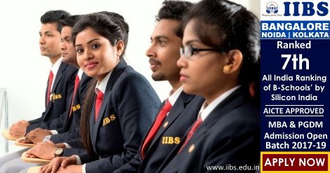 MBA Admissions Open for 2017-19 at IIBS Bangalore, Noida & Kolkata
