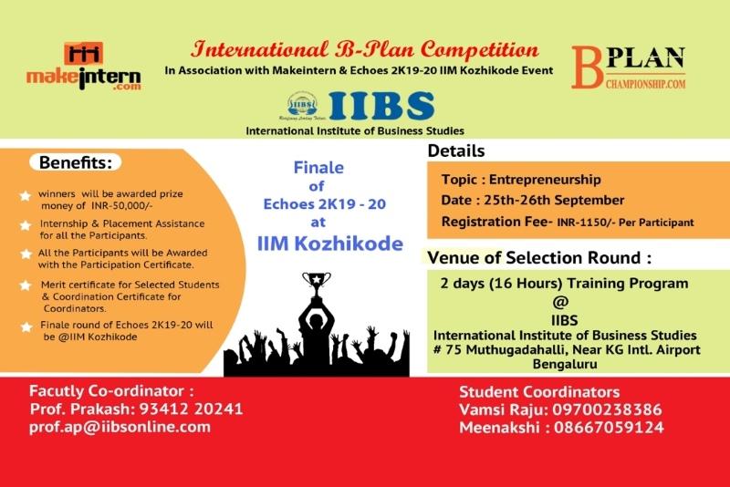 Workshop on B-Plan Competition IIM-K Echoes 2019-20 at IIBS